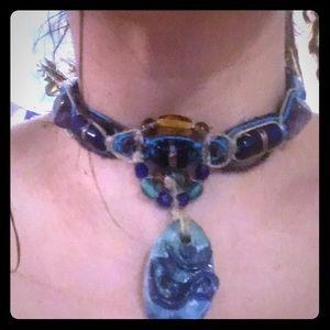 Jewelry - purple fluorite om necklace macrame hemp choker